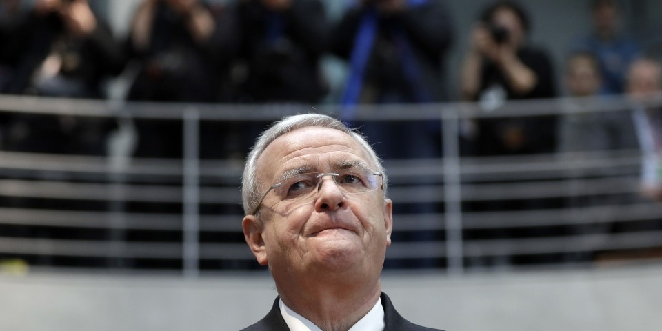 Martin Winterkorn, former CEO of the German car manufacturer Volkswagen, arrives for a questioning at an investigation committee of the German federal parliament in Berlin, Germany, Thursday, Jan. 19, 2017. (AP Photo)