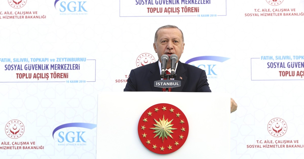 President Erdou011fan speaks at the inauguration ceremony of the Social Security Institution's (SGK) district branches in Istanbul's Zeytinburnu district on Saturday, Nov. 16, 2019 (AA Photo)