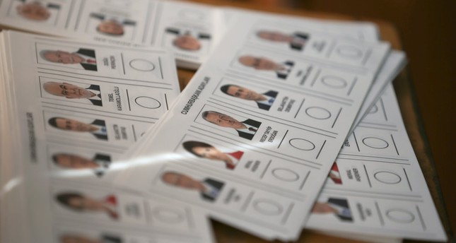 Ballots for Turkey's presidential election are pictured at a polling station in Ankara, Turkey.