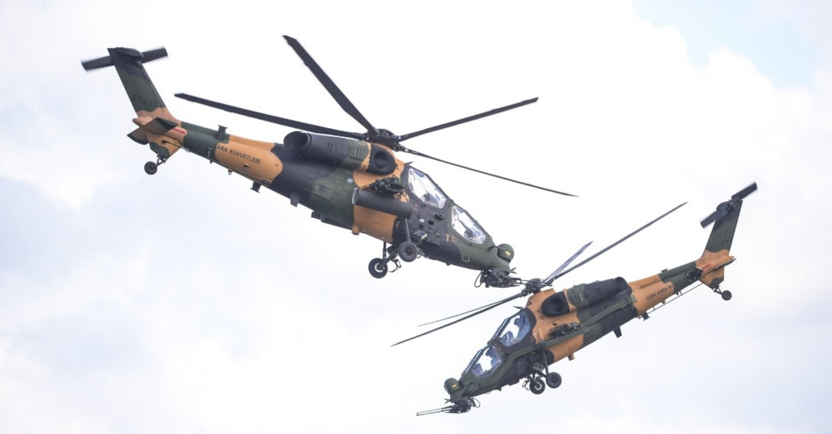 The T129 Tactical Reconnaissance and Attack Helicopter (ATAK) developed by the Turkish Aerospace Industry (TAI).