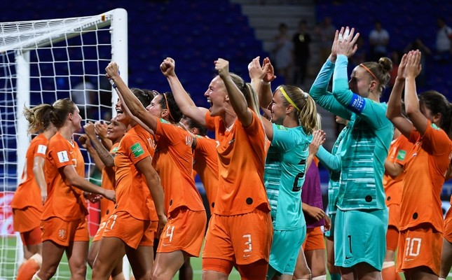 Dutch players celebrate after winning the Women's World Cup semifinal soccer match against Sweden at the Stade de Lyon outside Lyon, France, Wednesday, July 3, 2019. (AFP Photo)