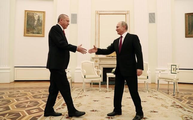 President Erdoğan meets with his Russian counterpart Vladimir Putin at the Kremlin, Moscow, Russia, Jan. 23, 2019.