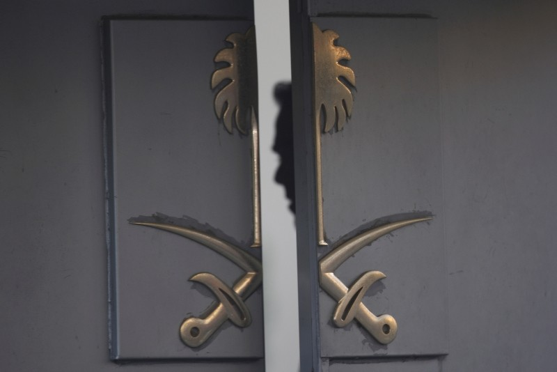 A security personnel is seen inside the entrance of the Saudi Arabia's Consulate in Istanbul, Tuesday, Oct. 16, 2018. (AP Photo)
