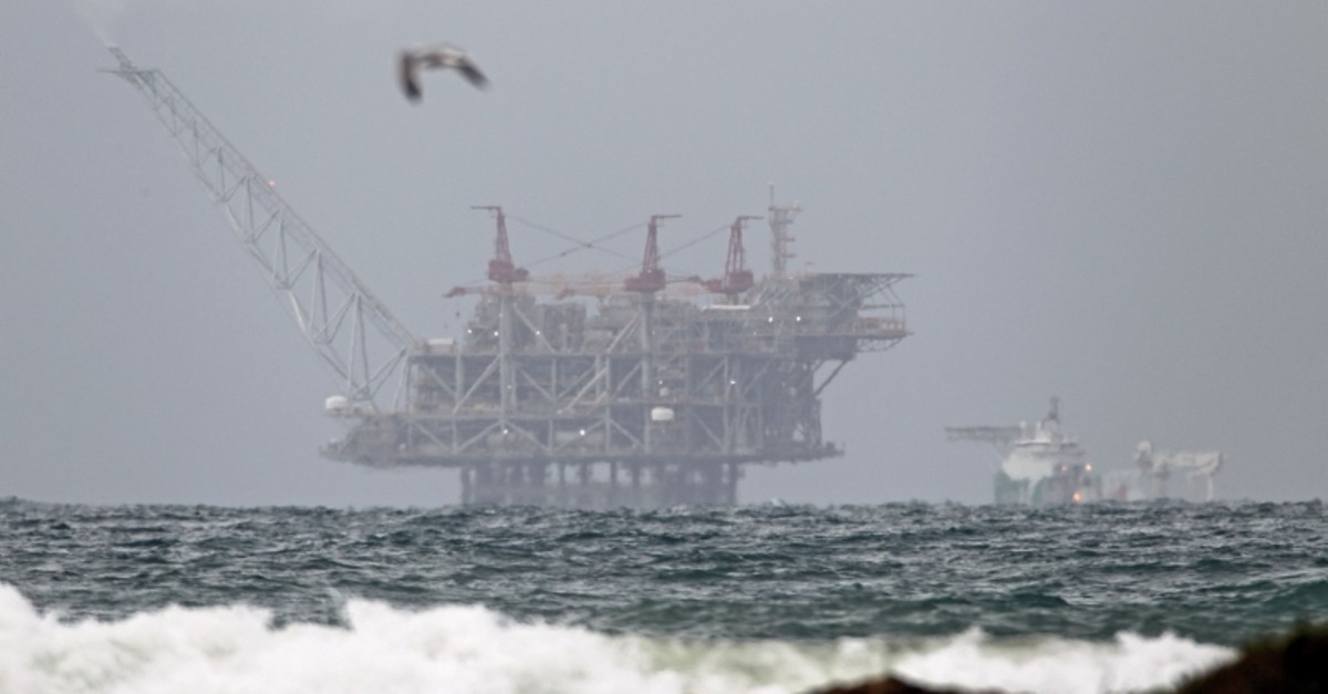 The platform of the Leviathan natural gas field in the Mediterranean Sea which started production today is pictured from the Israeli northern coastal city of Dor on December 31, 2019. (AFP Photo)