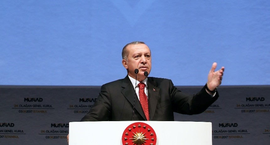 At the 24th Ordinary General Assembly of Mu00dcSu0130AD, President Erdou011fan addressed business people, urging them to take concrete action for investments.