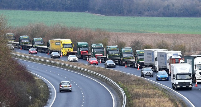 "A line of trucks seen during a trial between the disused Manston Airport and the Port of Dover on how the road will cope in case of a ""no-deal"" Brexit in Kent, yesterday."