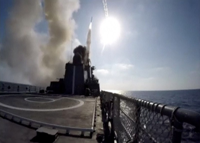 A still image taken from a video footage and released by Russia's Defence Ministry on Sept. 5, 2017, shows the Russian frigate Admiral Essen in the Mediterranean Sea firing Kalibr cruise missiles at Daesh targets near Deir el-Zour. (Reuters Photo)