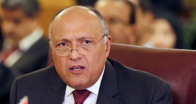 Egyptian Foreign Minister Sameh Shoukry attends the Arab Foreign Ministers' extraordinary meeting to discuss the Syrian crisis in Cairo, Egypt, Oct. 12, 2019. Reuters Photo