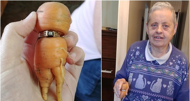 In an undated photo provided by Iva Harberg, Mary Grams, 84, holds a carrot that grew through her engagement ring in Alberta, Canada. (AP Photo)