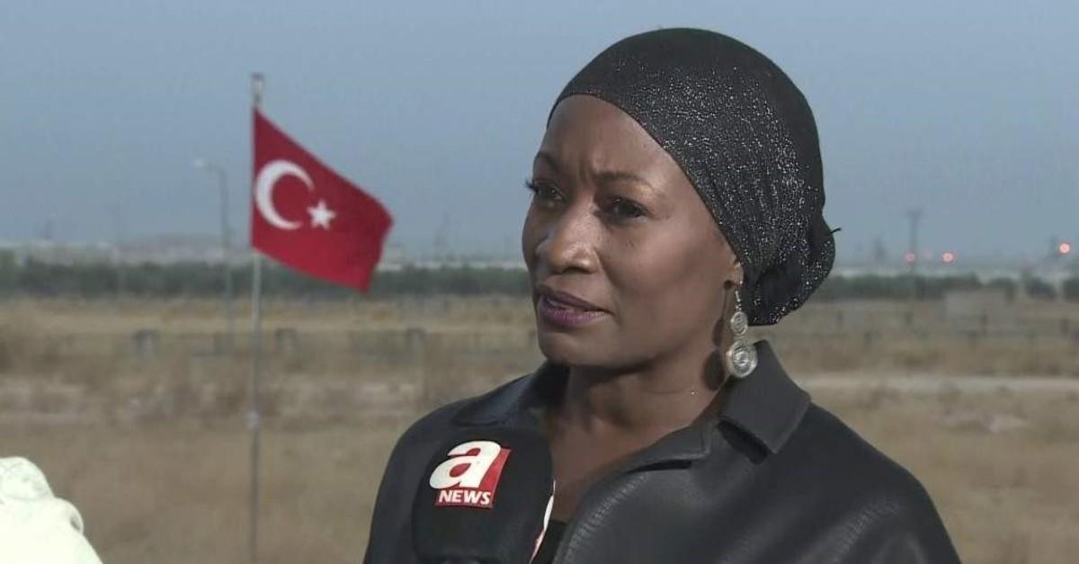 Della Miles speaks to ANews near the Syrian border, Aku00e7akale, u015eanlu0131urfa, Oct. 17, 2019.