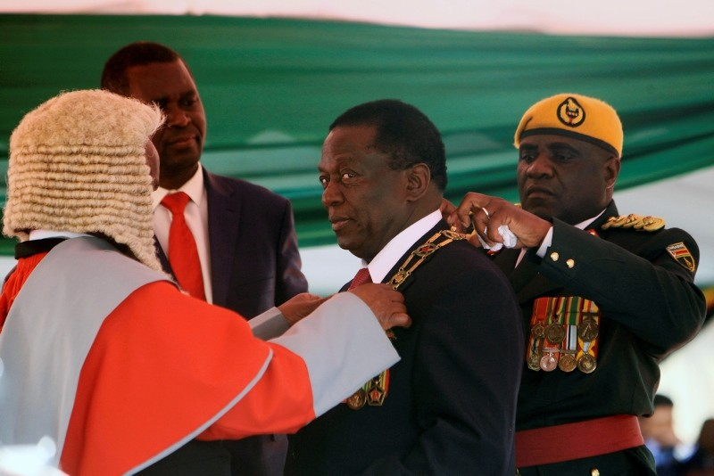Zimbabwean President Emmerson Mnangagwa during his inauguration ceremony at the National Sports Stadium in Harare, Sunday, Aug. 26, 2018. (AP Photo)