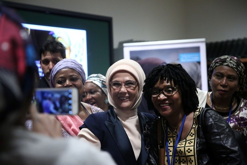 Emine Erdou011fan poses for photos after a U.N. meeting on empowering women and girls in Africa on Sept. 25, 2018 in New York. (AA Photo)