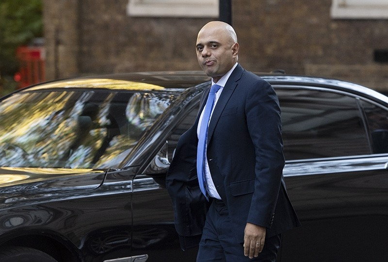British Home Secretary, Sajid Javid arrives in Downing street in London, Britain, Oct. 22, 2018. (EPA Photo)