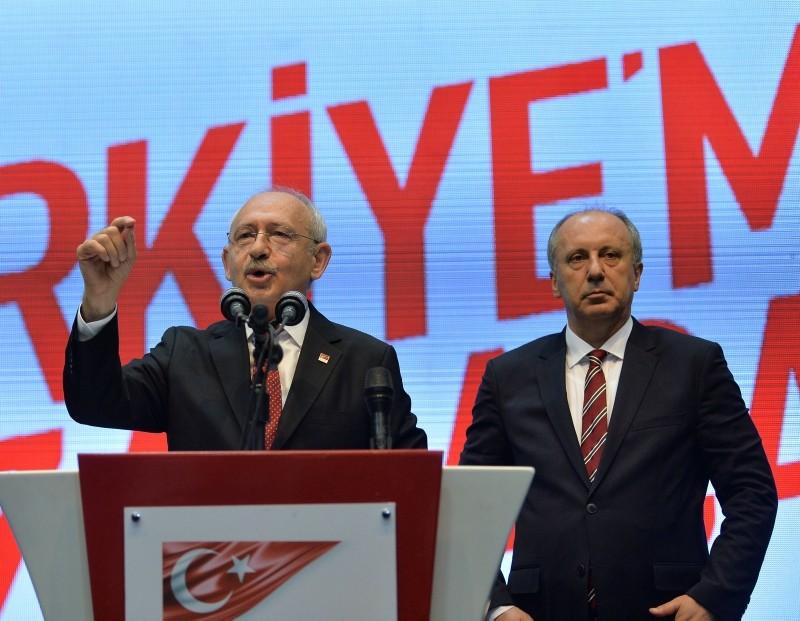 Main opposition Republican Peopleu2019s Partyu2019s chairman Kemal Ku0131lu0131u00e7darou011flu (L) and presidential candidate Muharrem u0130nce, Ankara, May 4.