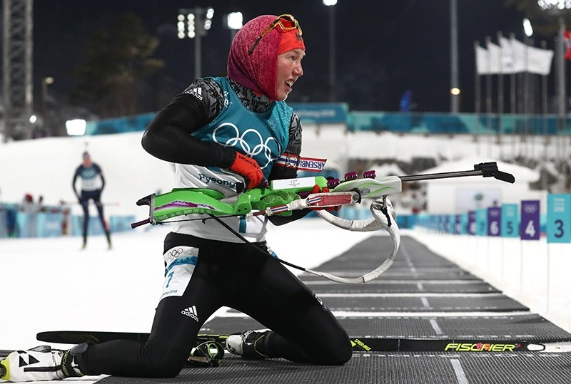 Laura Dahlmeier of Germany in action during the Women's Biathlon 10 km Pursuit race at the Alpensia Biathlon Centre during the PyeongChang 2018 Olympic Games, South Korea (EPA Photo)