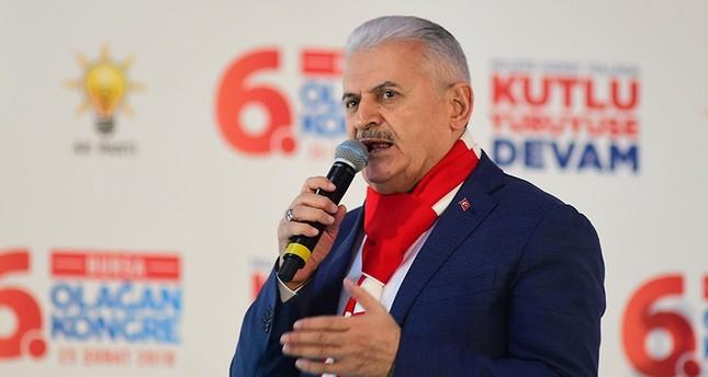Prime Minister Binali Yıldırım speaks in Bursa, Turkey on Feb. 25, 2018. (IHA Photo)