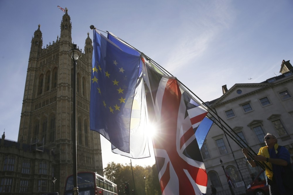 A demonstrator waves flags outside the Houses of Parliament in London, Nov. 14.