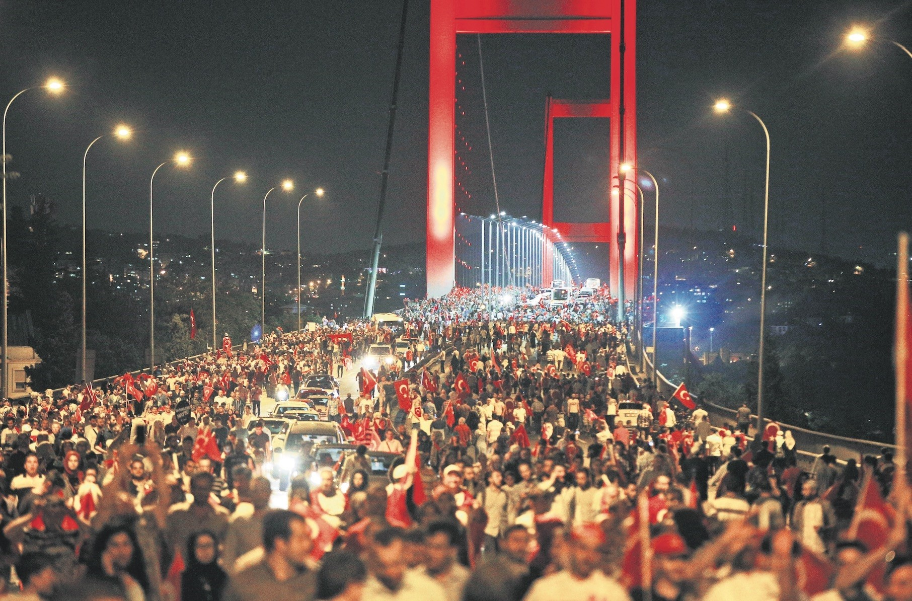 Thousands of people walk over the Bosporus Bridge u2013 now the July 15 Martyrs Bridge u2013 where hundreds of people were killed and injured during the coup attempt.