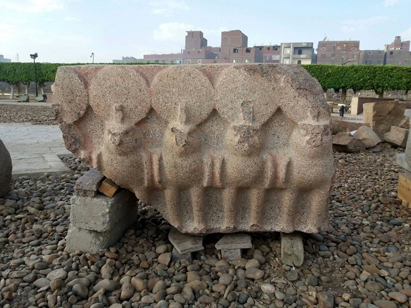 An undated handout photo made available by the Egyptian Ministry of Antiquities shows fragments from King Psamtik I colossus that was discovered a year earlier by an Egyptian-German mission at Heliopolis, Cairo (EPA Photo)