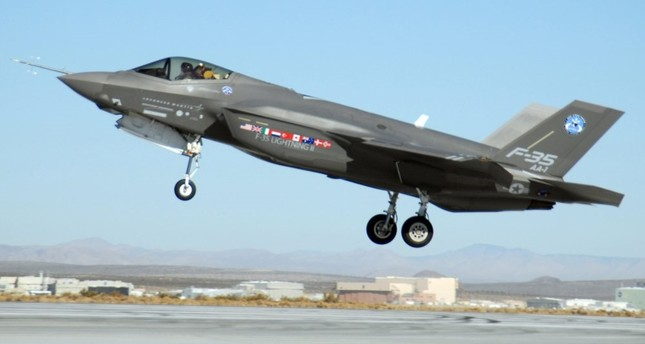 An F-35 Lightning II, marked AA-1, lands at Edwards Air Force Base, California, Oct. 23, 2017.
