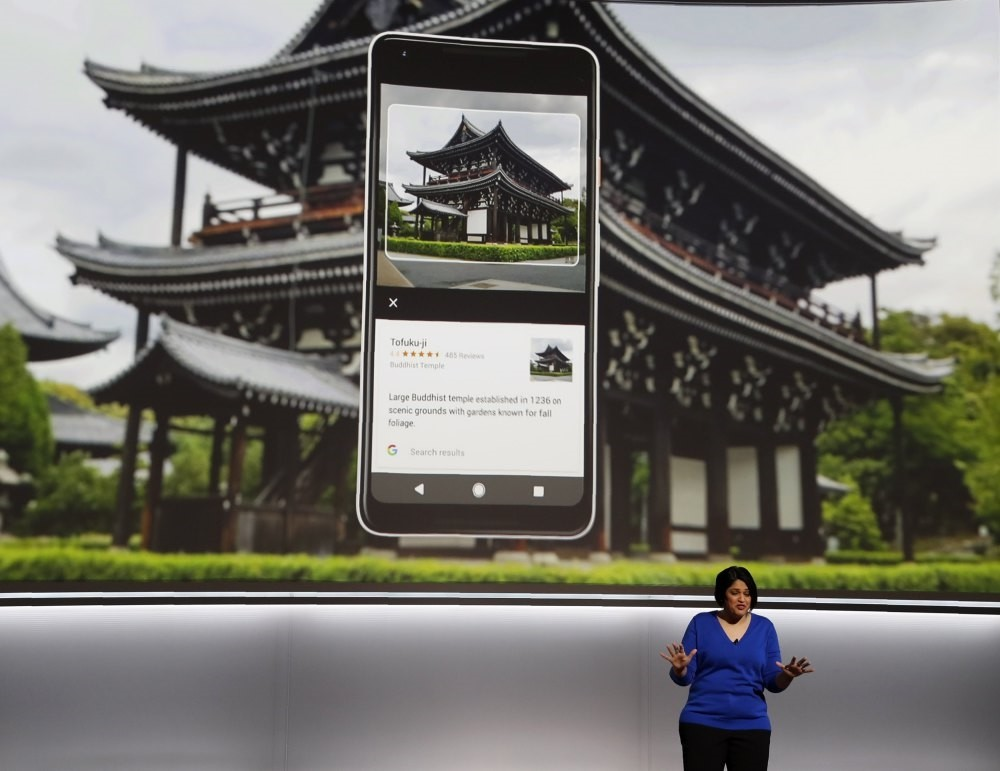 Google product executive Aparna Chennapragada speaks about the Pixel 2 phone during a launch event in San Francisco.