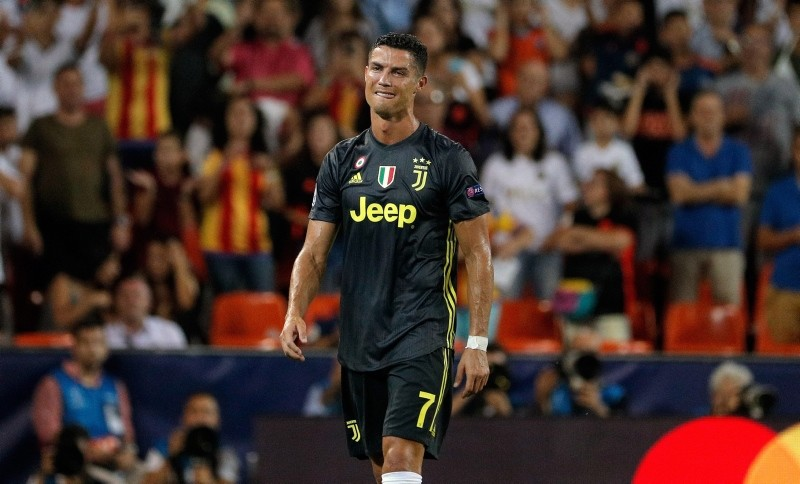 Juventus' forward Cristiano Ronaldo reacts after being sent off during the UEFA Champions League soccer match between Valencia CF and Juventus FC at Mestalla stadium in Valencia, Spain, 19 September 2018. (EPA Photo)