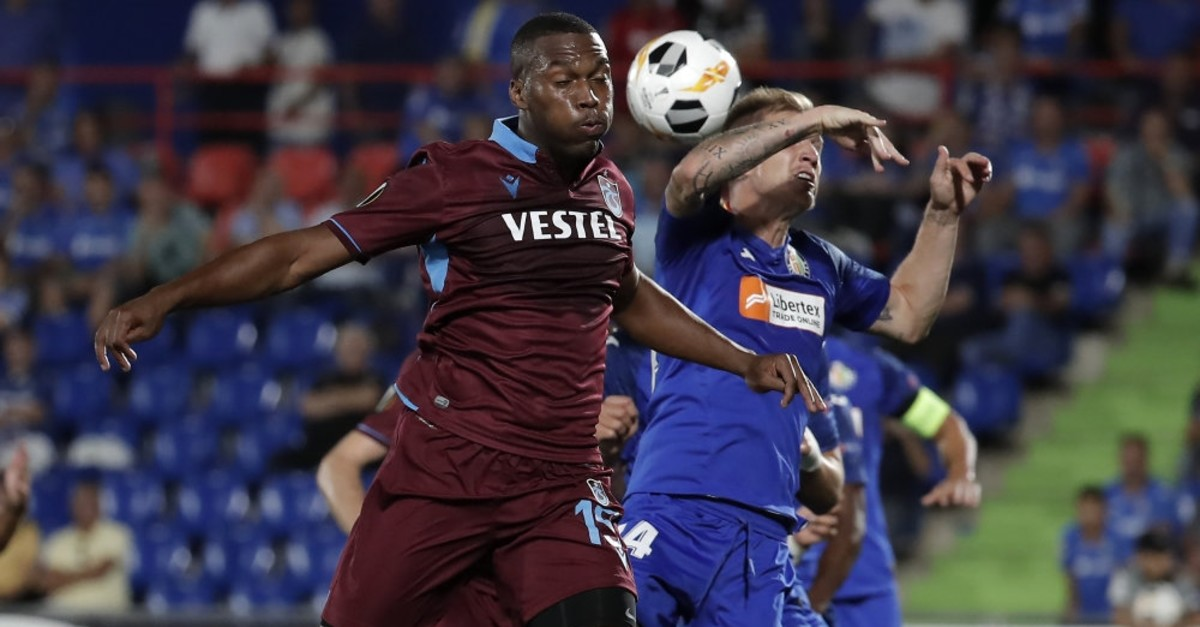 Trabzonspor's Daniel Sturridge up against Raul Garcia of Getafe in the Turkish team's first game in Europa League, Sept. 19, 2019.