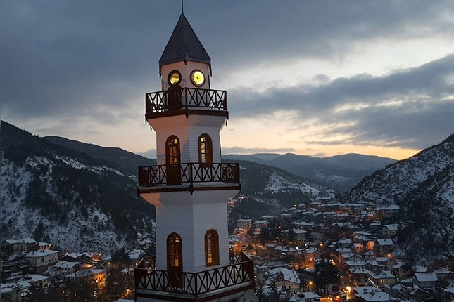 A general view of the northwestern town of Göynük and its renowned clock tower. (IHA Photo)