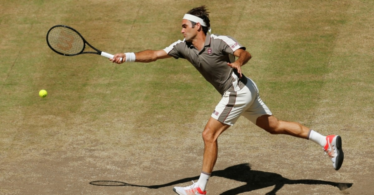 Roger Federer, of Switzerland, in action during a tennis match against David Goffin, of Belgium, in the final match of the Halle Open tennis tournament in Halle, Germany, Sunday, June 23, 2019. (Reuters Photo)