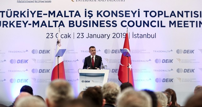 Vice President Fuat Oktay delivers a speech at the Turkey-Malta Business Council in Istanbul, Jan. 23, 2019.