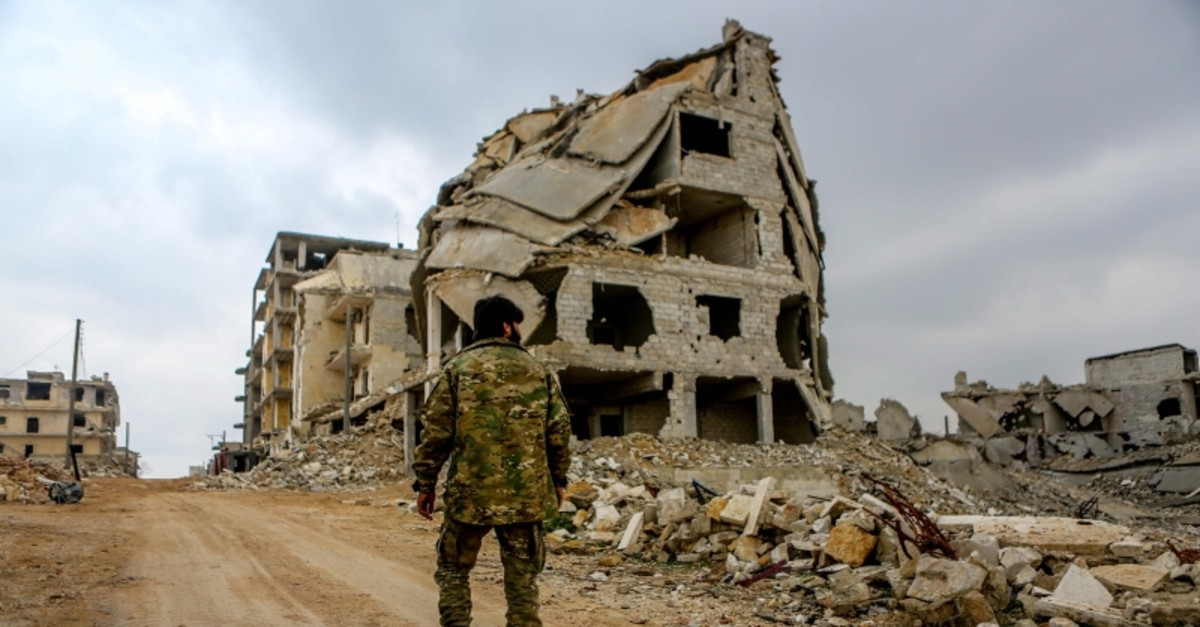 Apartment buildings destroyed in Syria's civil war seen on the outskirts of Aleppo. (Sabah File Photo)