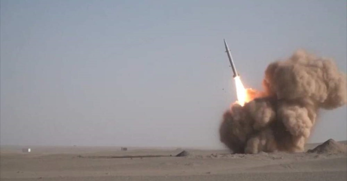 An image grab from footage obtained from the state-run Iran Press news agency Feb. 9, 2020, shows the launch of the new Raad-500 missile, a short-range ballistic missile by Iran's Islamic Revolutionary Guard Corps (IRGC). (Photo by Iran Press via AFP)