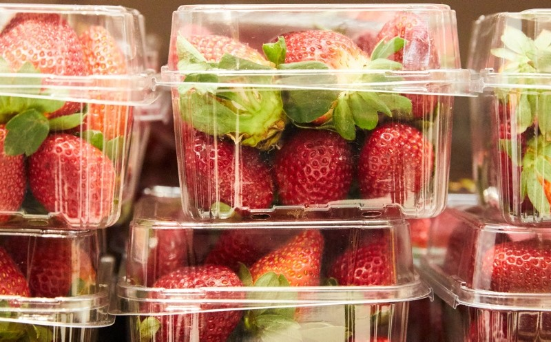 Strawberry punnets are seen at a supermarket in Sydney, Australia, Sept. 13, 2018. (EPA Photo)