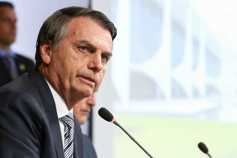 Handout picture released by the Brazilian Presidency press office showing Brazilian President Jair Bolsonaro speaking during a ministerial meeting at Planalto Palace in Brasilia, on January 3, 2019. (AFP Photo)