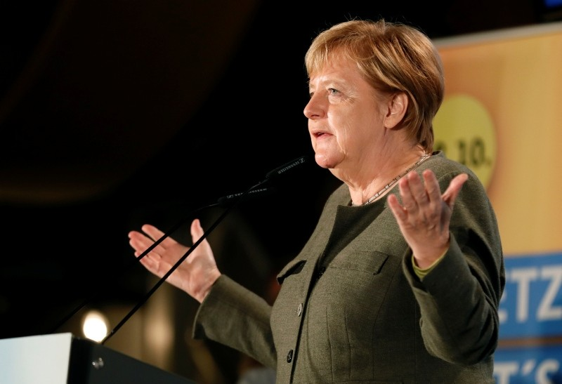 German Chancellor Angela Merkel gives a speech during an election campaign rally of the Christian Democrats (CDU) in Ortenberg, Germany, October 22, 2018. (EPA Photo)