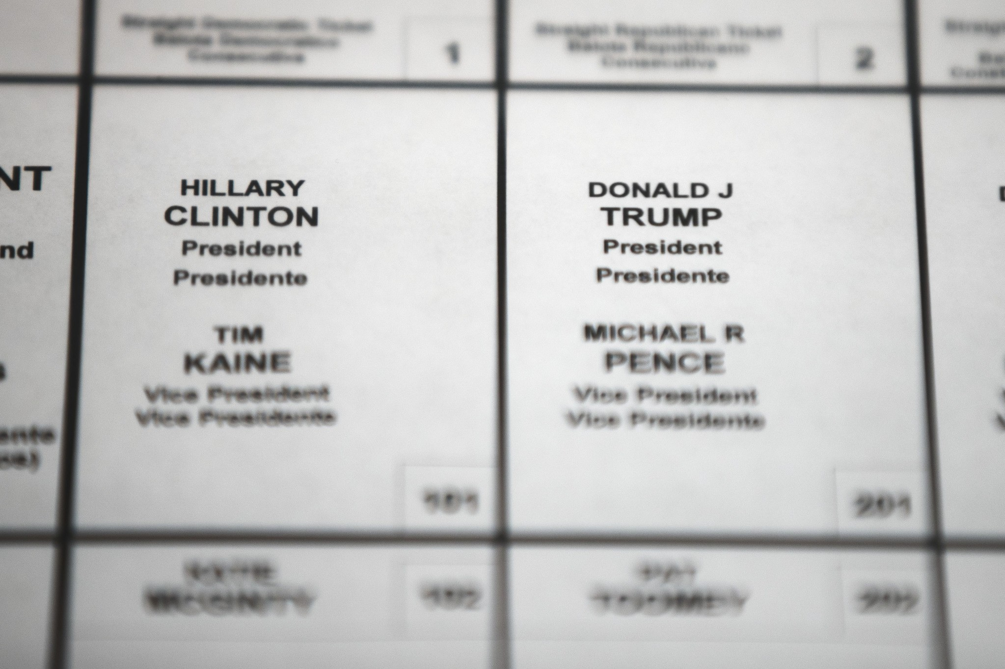 This Oct. 14, 2016 file photo shows Democratic presidential candidate Hillary Clinton's and Republican presidential candidate Donald Trump's names printed on a ballot on a voting machine. (AP Photo)