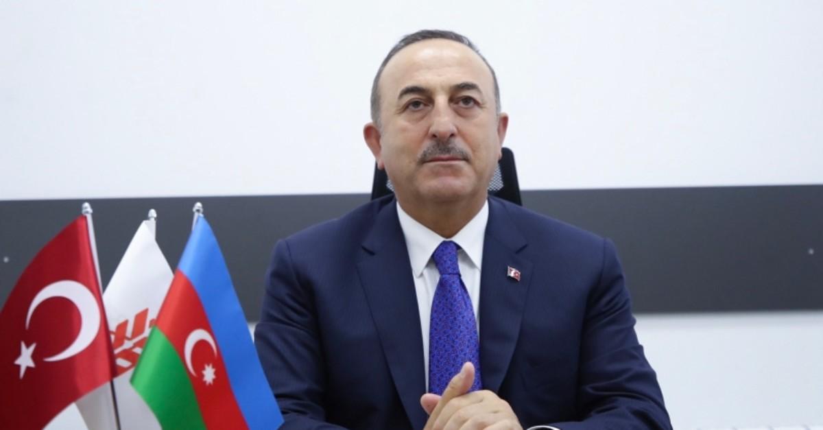 FM u00c7avuu015fou011flu speaks to reporters in Baku, Azerbaijan on Friday Oct. 25,2019 (AA Photo)