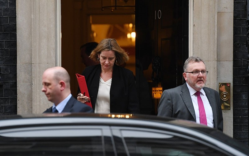 British Home Secretary Amber Rudd departs 10 Downing Street following a so called  'war cabinet' in London, Britain, April 12, 2018. (EPA Photo)