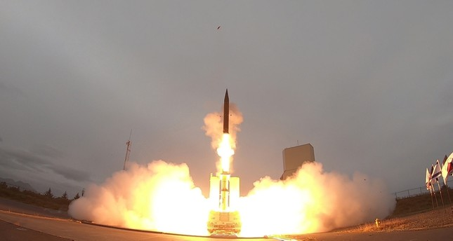 A handout picture released by the Israeli Ministry of Defense on July 28, 2019 shows the launch of the Arrow-3 hypersonic anti-ballistic missile at an undisclosed location in Alaska. (AFP Photo)