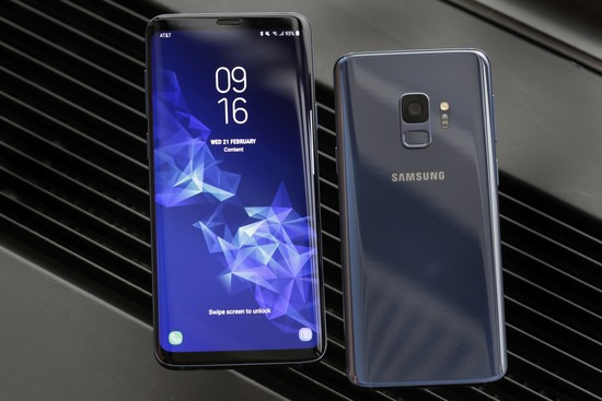 This Feb. 21, 2018, photo shows the Samsung Galaxy S9 Plus, left, and back of a Galaxy S9 mobile phone, during a product preview in New York. (AP Photo)