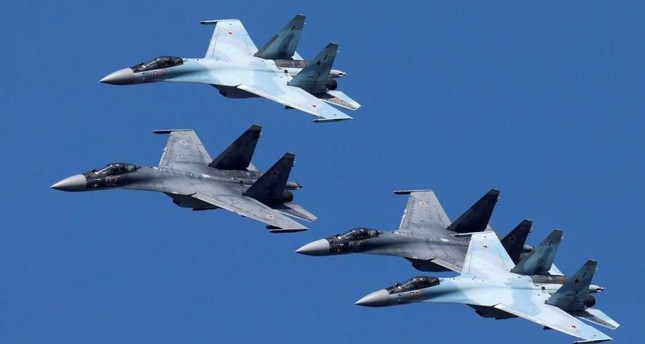 Sukhoi Su-35 jet fighters of the Sokoly Rossii (Falcons of Russia) aerobatic team fly in formation during a rehearsal for the airshow in Krasnoyarsk, Russia August 1, 2019. (REUTERS Photo)