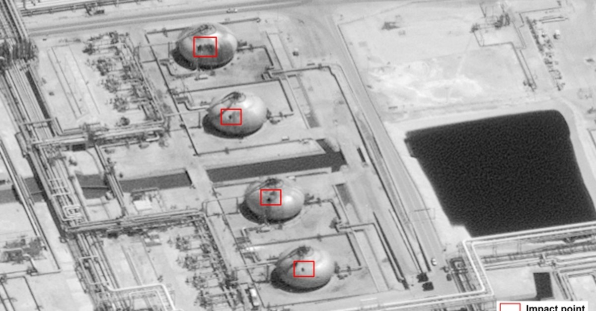 This image provided on Sunday, Sept. 15, 2019, by the U.S. government and DigitalGlobe and annotated by the source, shows damage to the infrastructure at Saudi Aramco's Abaqaiq oil processing facility in Buqyaq, Saudi Arabia. (AP Photo)