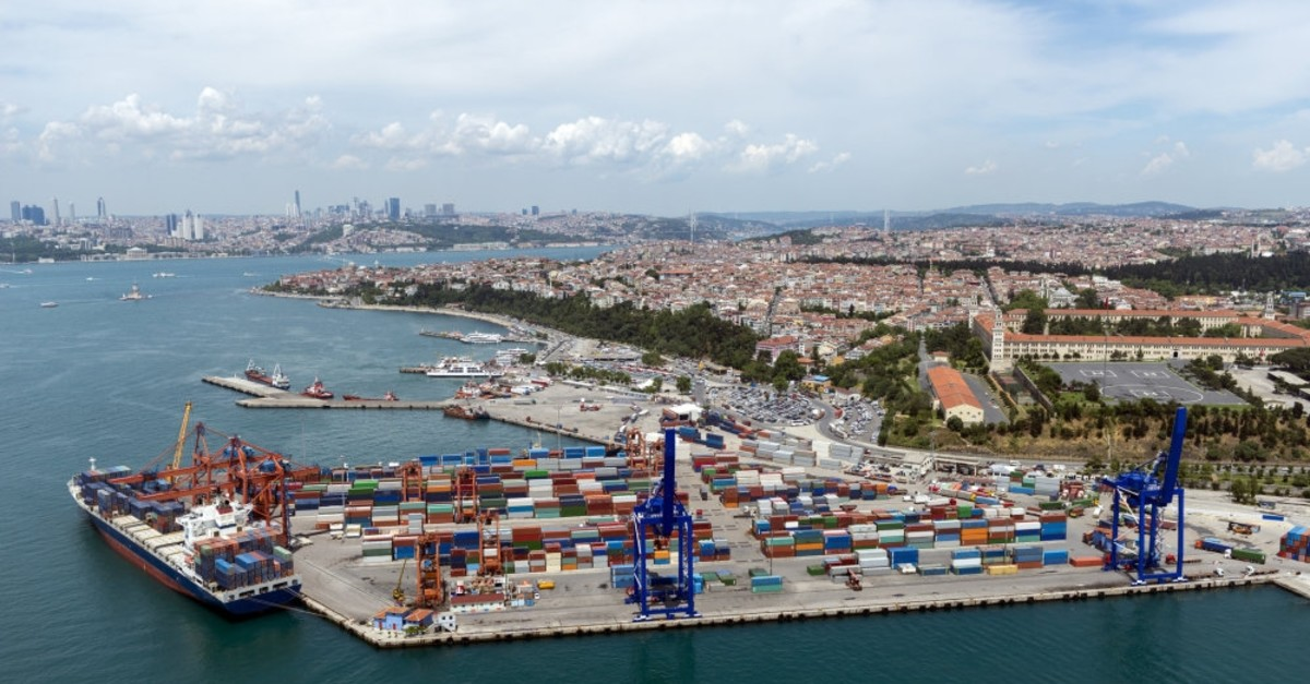 Aerial view of the container port and ship in Haydarpau015fa, Istanbul.