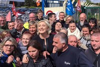 Far-right presidential candidate Marine Le Pen turned an appliance factory into a battleground Wednesday for France's blue-collar vote, upstaging rival Emmanuel Macron with a surprise campaign stop...