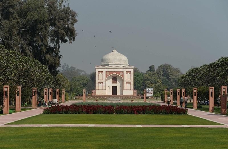 This photo taken on Feb. 20, 2018 shows the renovated Sunderwala Burj tomb in Sunder Nursery, a 16th-century heritage garden complex adjacent to Indian UNESCO site Humayun's Tomb, in New Delhi (AFP Photo)