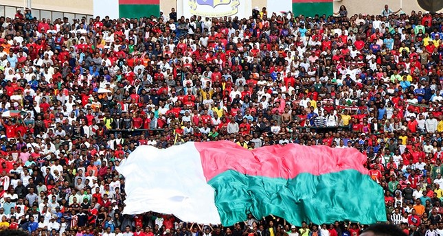 Malagasy supporters cheer during the Africa Cup of Nations 2019 qualifier Madagascar v Senegal on Sept. 9, 2018 in Antananarivo, Madagascar. (AFP Photo)