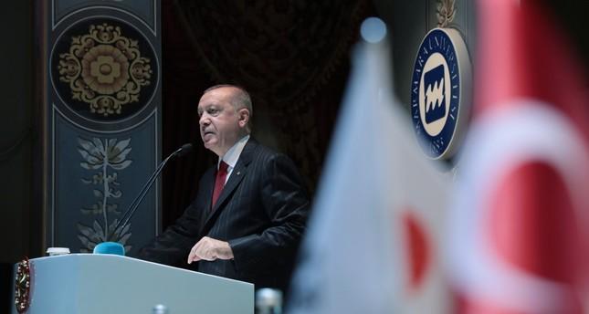 President Recep Tayyip Erdoğan speaks at a finance conference, Istanbul, Sept. 9, 2019.