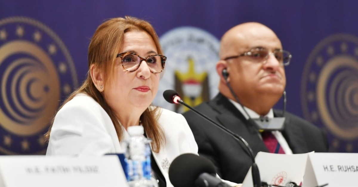 Trade Minister Ruhsar Pekcan speaks at the Turkey-Iraq Business Forum in Baghdad, June 20, 2019.