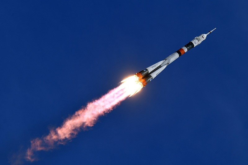 Russia's Soyuz MS-04 spacecraft carrying Russian cosmonaut Fyodor Yurchikhin and NASA astronaut Jack David Fischer blasts off to the ISS from the launch pad at the Russian-leased Baikonur cosmodrome on April 20, 2017. (AFP Photo)