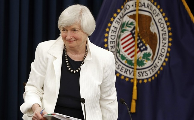 In this Sept. 20, 2017, file photo, Federal Reserve Chair Janet Yellen gets up from her seat at the conclusion of a news conference following the Federal Open Market Committee meeting in Washington, D.C., U.S. (AP Photo)
